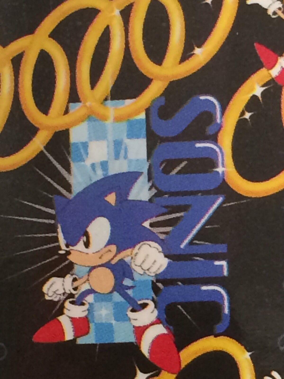 Sonic The Hedgehog Sega Video Juego Manta Polar repetidor de Anillo Negro Nuevo