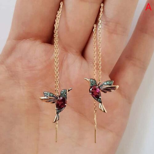 Hummingbird Long Drop Earrings Bird Pendant Tassel Crystal Pendant EarringsJI