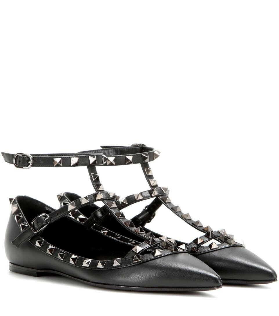100% Authentic Valentino Garavani Noir Black Rockstud Strappy Ballerina Flats 36