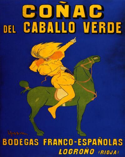 POSTER CONAC DEL CABALLO VERDE GREEN HORSE COGNAC SPAIN VINTAGE REPRO FREE S//H