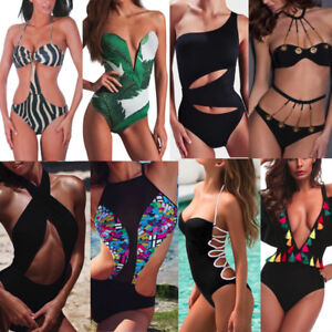 Womens-One-Piece-Push-Up-Bikini-Swimsuit-Beachwear-Bathing-Swimwear-Monokini