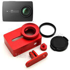 RED Metal Frame Protective Case Cover + 37mm UV Filter For Xiaomi Yi 2 4k Camera