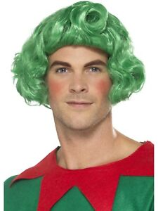 Green Curly Elf Wig Santas Little Helper Christmas Fancy Dress