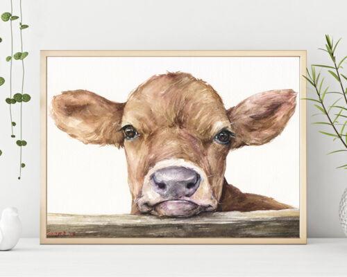 Watercolor Cow Print Vegan gift Farmhouse Art Calf Print Rustic Home Decor