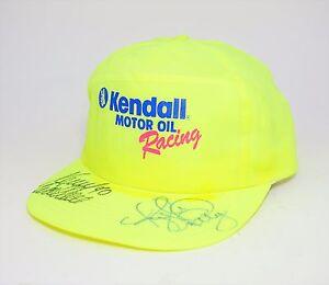 NASCAR KYLE PETTY Autographed Neon Yellow Snapback HAT CAP KENDALL MOTOR RACING