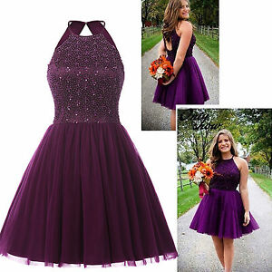 Beaded Purple Short Cocktail Party Dresses Graduation Homecoming Prom Gown 4 6 8