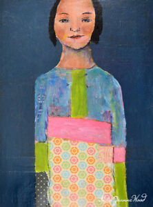 Original Woman Figure Mixed Media Collage Painting Katie Jeanne Wood