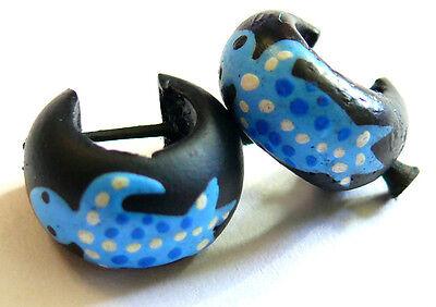 Boucles d/'oreilles Créoles Piercing Bois Wooden Earrings salamandre Gecko