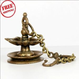 Details About Vintage Brass Hanging Traditional Oil Lamp With Chain Decorative Collective Lamp