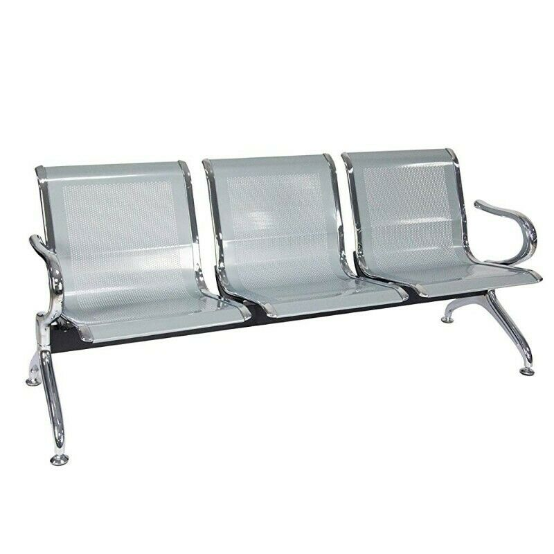 3  Seater Airport Chair-Flash Silver