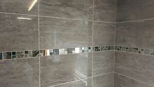 10 30m2 Parallel Travertine Effect Grey Ceramic Bathroom Wall Tile