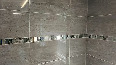 15-30m2 or Sample Parallel Travertine Effect Grey Ceramic Wall Tiles 50 x 25