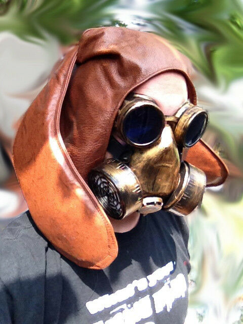 The Apocalyptic brown Bunny  gas mask LARP  burning Leather steampunk man