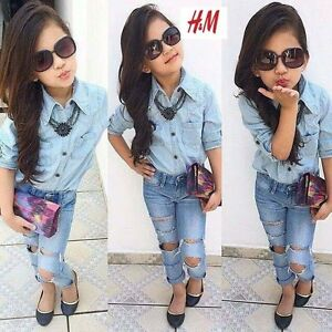2Pcs Hot Sale Baby Girls Dress Blue Shirt + Denim Pants ...