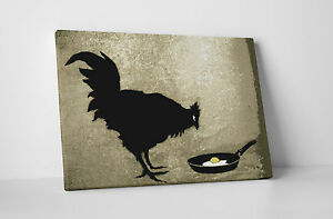 Banksy Chicken and The Egg Gallery Wrapped Canvas Print. BONUS BANKSY DECAL!