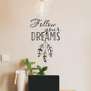 Follow Your Dreams Wall Decal Home Decor Motivational Quote Wall - Wall decals motivational quotes