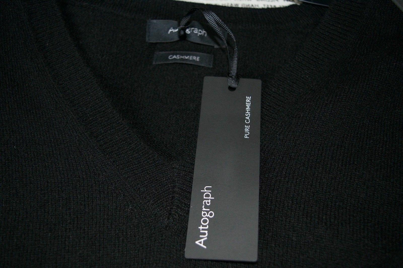 Neuf Marks & Spencer Autograph pur cachemire schwarz col V Pull Größes 12