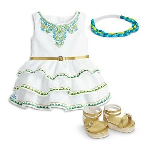 American-Girl-2016-Doll-Of-Year-Lea-039-s-Celebration-Dress-Shoes-Headband-Outfit