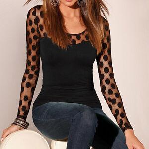 Fashion-Women-Long-Sleeve-Silk-Shirt-Casual-Ladies-Lace-Blouse-Tops-T-Shirt-S-XL