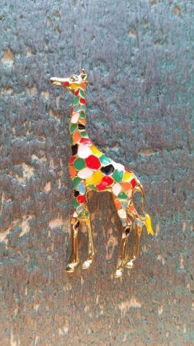 Broche jirafa esmaltes multicolor mosaico animal animal amor prendedor pin
