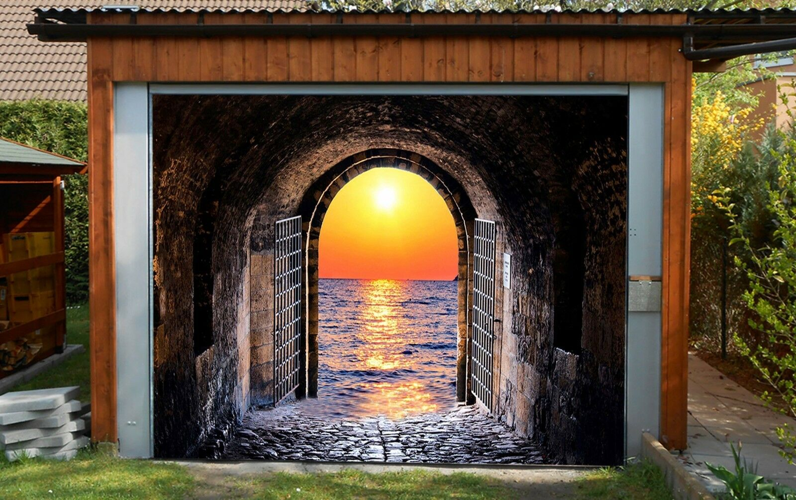3D Sunrise Cave 4 Garage Door Murals Wall Print Decal Wall AJ WALLPAPER AU Lemon