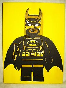 Image Is Loading Canvas Painting Superhero Lego Batman Yellow Art 16x12