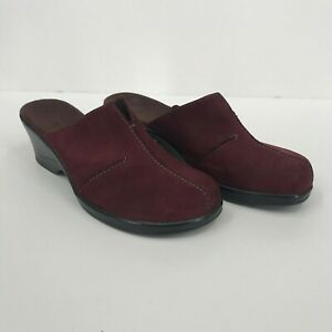 Clarks-Women-039-s-Burgundy-Suede-Slide-In-Clogs-with-Chunky-Heel-New-without-Box