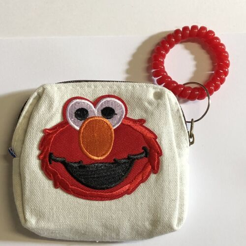 Elmo Coin Purse With Coil Wrist Strap Cotton Canvas Pouch Make Up Bag 10x9cm