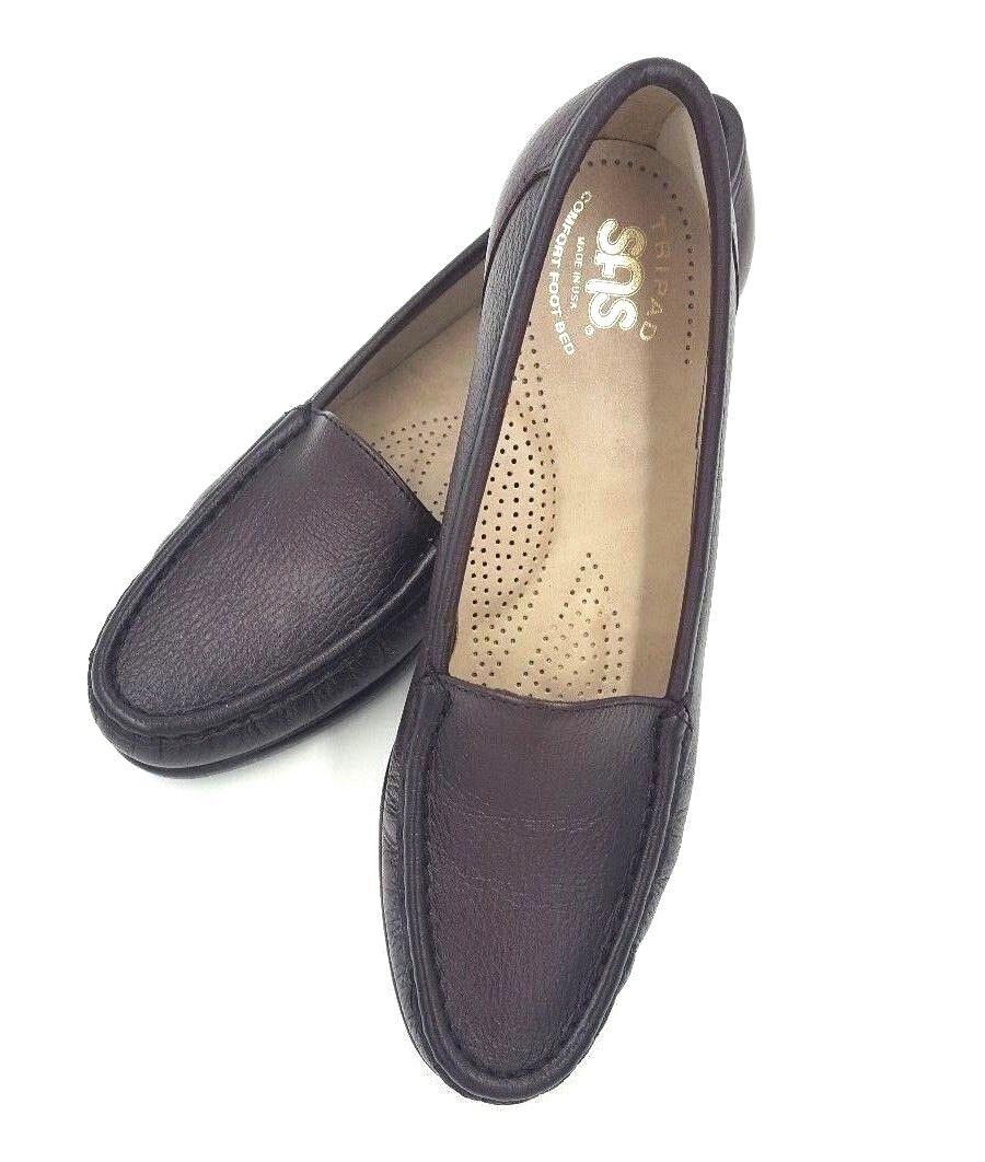 SAS SIMPLIFY Sz 7.5 S Braun Moccasin Leder Loafers Tripad Comfort Pebble Grain