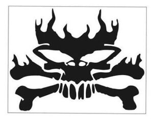 SKULL AND CROSSBONES ON FIRE 5 X 6 VINYL CAR TRUCK WINDOW ...