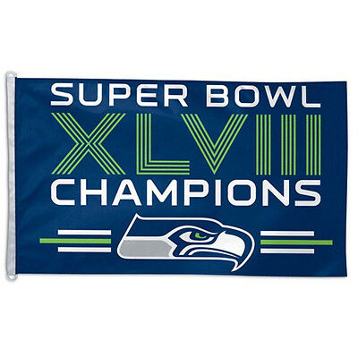 Super Bowl 48 Seattle Seahawks Champions Officially Licensed Large Flag 3' X 5'