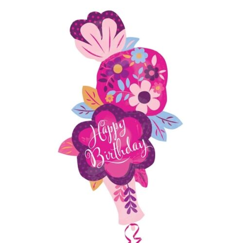 "S//forme dainty floral stacker vase joyeux anniversaire ballons 41/"" x 28/"""