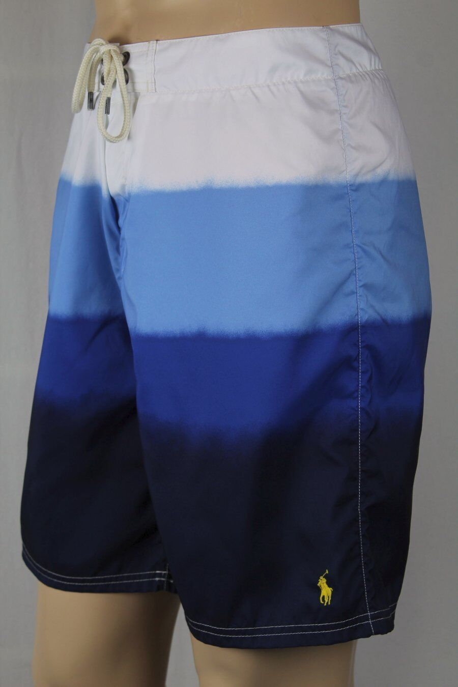 Polo Ralph Lauren bluee White Dip Dye Swim Board Shorts Trunks Yellow Pony NWT