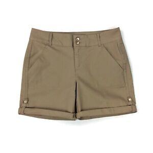 NEW Gloria Vanderbilt Rachel Rolled Up Womens Khaki Belted Shorts 16W 24W