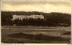 Grange-over-Sands-England-Cumbria-AK-1930-Golf-Hotel-Building-Gebaeude-Panorama