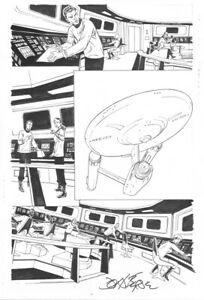 STAR TREK: SCHISM # 2 PG. 14 by JOHN BYRNE! SIGNED!! TERRIFIC BRIDGE SCENE!!!