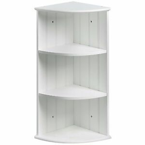 Vonhaus Colonial White Three Shelf Bathroom Corner Cabinet Unit For Wall Floor 689788601786 Ebay