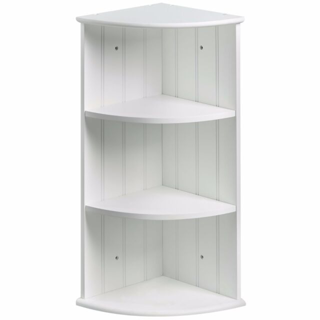 Vonhaus Colonial White Three Shelf Bathroom Corner Cabinet Unit For Wall Floor