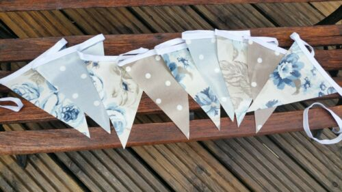 3m blues and taupe clarke oilcloth bunting by pretty bunting