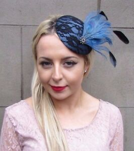 Image is loading Black-Steel-Blue-Statement-Feather-Fascinator-Races-Pillbox - e5a8ba0033a1
