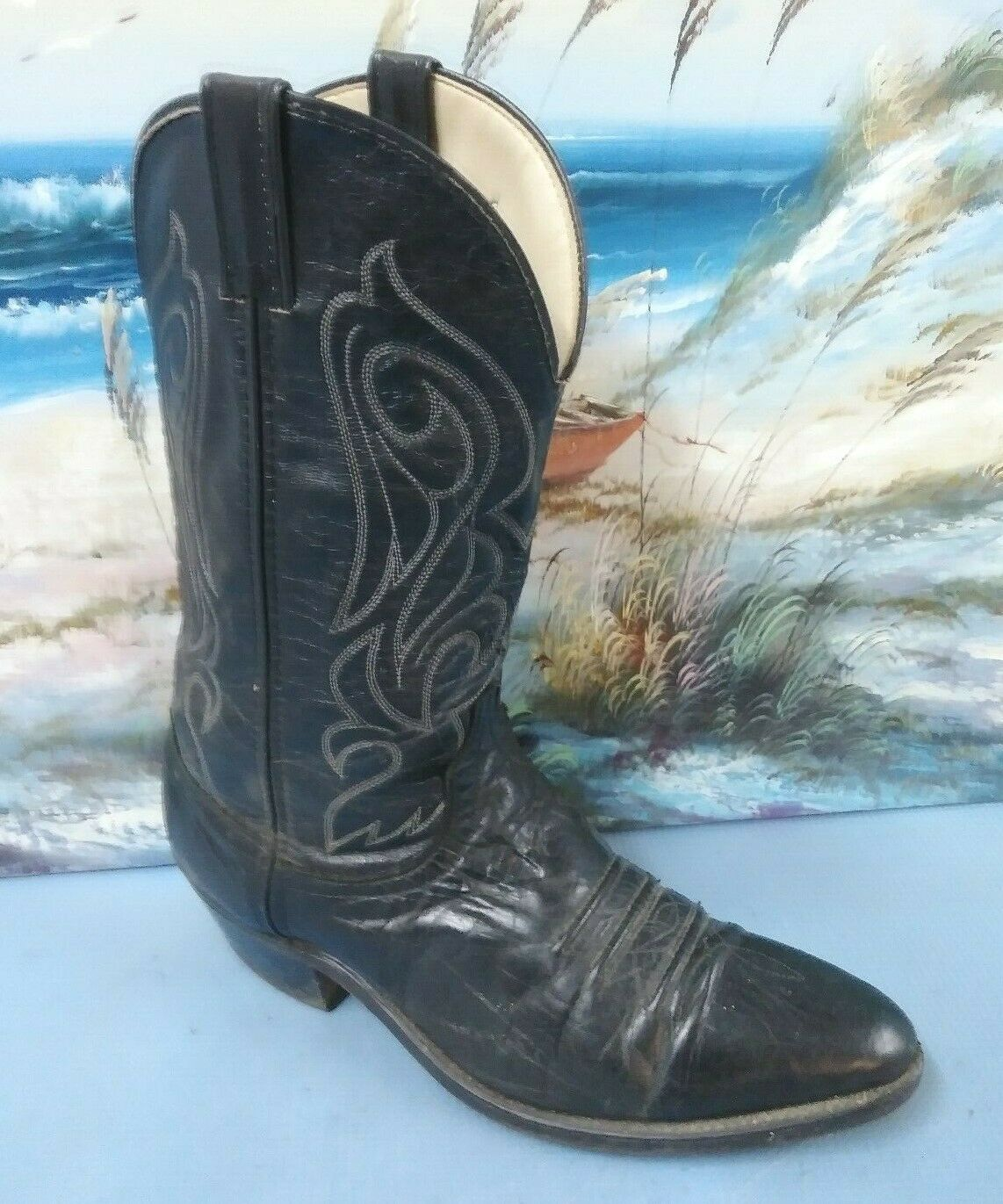 Laredo Mens Western Cowboy  Boot Black Leather Pull On 9.EE   73474