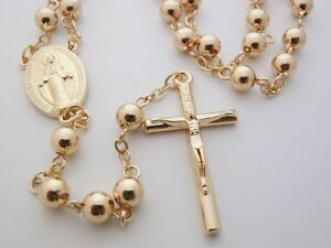 Gold Plated Rosary Beads Long Necklace Cross FREE Booklet