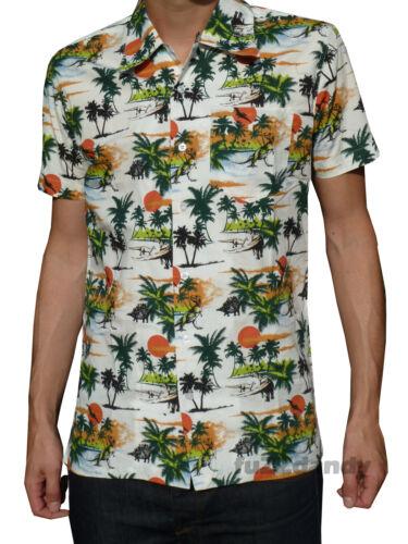 NEW retro vtg 50s indie SHIRT DINOSAURs 60s xs s m l xl Hawaiian Beach Green