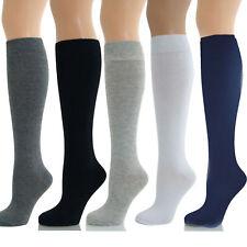 NEW GIRLS KIDS ADULT TEENAGE WHITE LONG KNEE HIGH SOCKS Size 4-6 SCHOOL
