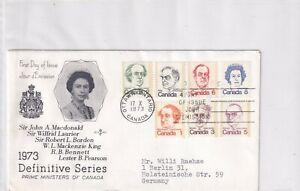 Kanada 534-40A FDC 1973 QUEEN ELIZABETH POLITIK CANADA PRIME MINISTER BRIEF