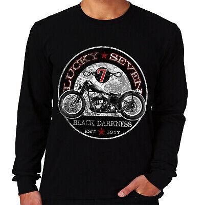 Velocitee Mens Hoodie Lucky 7 Classic American Bobber Motorcycle Biker W17362