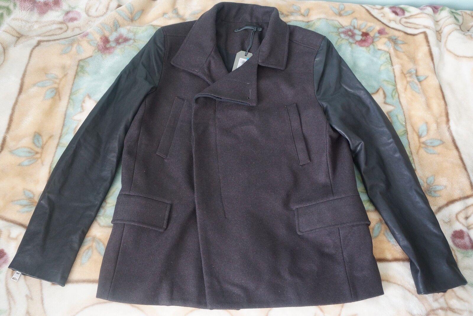 Brand New  Herren All Saints Major Pea Coat, Dark Braun, Leder Arms, SIze L