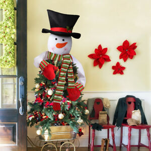 Christmas Top Hat Ornaments.Details About Christmas Tree And Snowman Decoration Tree Snowman Topper Cover Hat Ornaments