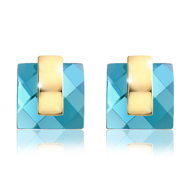 Made Using Swarovski Crystals Teal bluee Green Square Earrings  190 S21
