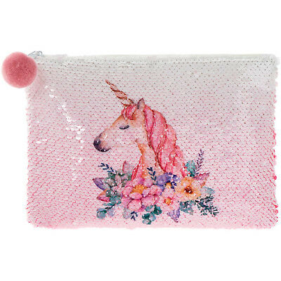 Reversible Sequin White Unicorn Purse Girls Clutch Hand Bag Make Up Pouch